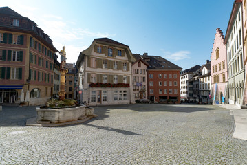 Obraz view of the Burgplatz Square and the historic fountain in the picturesque old town of Biel - fototapety do salonu