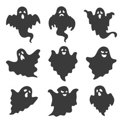 vector set of ghosts on white background