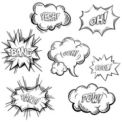 Isolated sketches of comic or onomatopoeia sounds