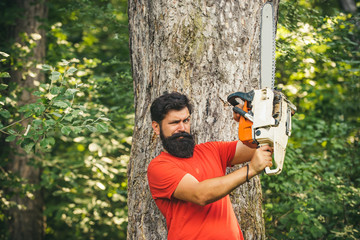 Lumberjack with chainsaw in his hands. Deforestation. Chainsaw. Firewood as a renewable energy...