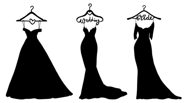 Vector Wedding dresses in Different styles. Beautiful Bride clothing for wedding day on a hanger.