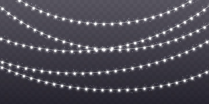 Christmas garland isolated on transparent background. Glowing white light bulbs with sparkles. Xmas, New Year, wedding or Birthday decor. Party event decoration. Winter holiday season element.