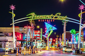 remont east district neon sign and traffic in Las Vegas downtown night shot