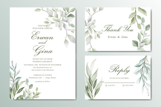 Greenery Elegant Wedding invitation card set with watercolor floral and leaves