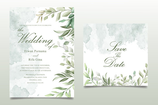 Greenery Watercolor Floral wedding invitation template card design