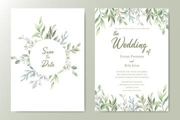 Greenery Watercolor Floral wedding invitation template card design