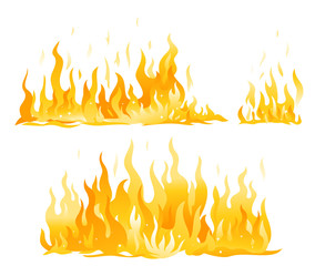 Set of fire flames isolated illustration, horizontal hot fire flame compositions, cartoon fiery wall