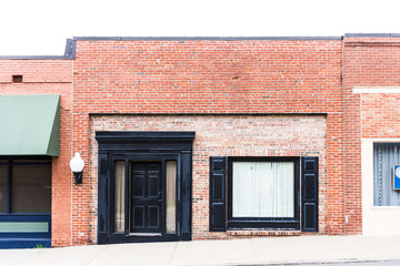 Empty store front in historic shopping area