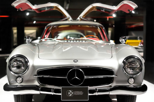 Mercedes-Benz 300 SL Gullwing vintage luxury car front side on cars exhibition in Baku, Azerbaijan 12 april, 2017