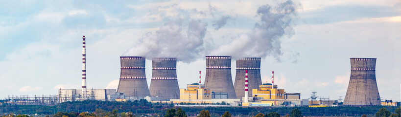 Nuclear power plant panorama in extreme resolution. Modern real nuclear power plant photo.
