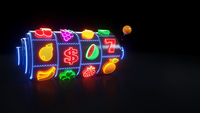 Slot Machine With Fruit Icons. Jackpot And Fortune. Casino Gambling Concept With Neon Lights - 3D Illustration