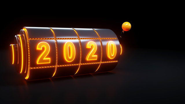 Slot Machine Gambling Concept With 2020 Year - 3D Illustration