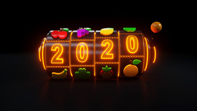 Slot Machine With Fruit Icons. Jackpot And Fortune. 2020 Year Casino Gambling Concept With Neon Lights - 3D Illustration