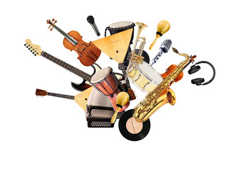 A variety of musical instruments in beautiful flight Wall mural