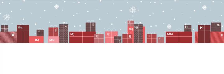 Weihnachten, Adventskalender, Geschenke im Schnee Wall mural