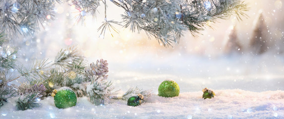 Winter Landscape with Christmas Decoration