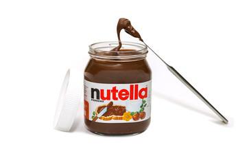 Italy, 201 8 - nutella jar on white background