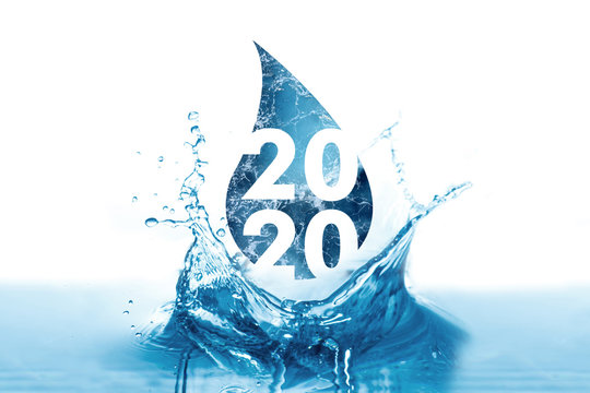 New Year 2020 greetings in water drop and splash