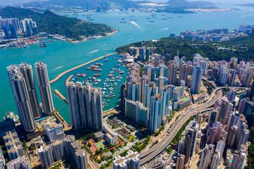 Wall Mural - Top down view of Hong Kong