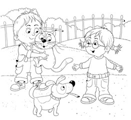 My day. Schedule. Cute little boy's day. Coloring book. Coloring page. Illustration for children. Cute and funny cartoon characters