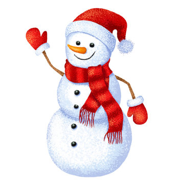 Christmas funny snowman on white background.
