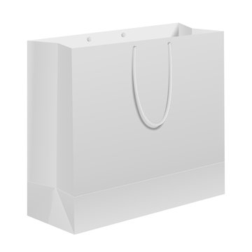 Paper bag. White carry gift template with handle. Empty branding box merchandise retail food packaging. Shop package blank design for commercial store fashion sale, advertising. Consumer packet mockup