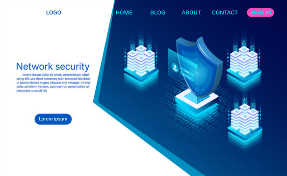 Network data security concept. data processing protection. digital information. flat isometric vector illustration