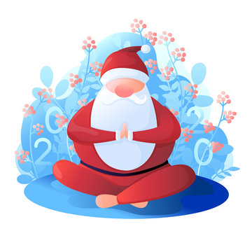 Santa Claus sits in a lotus position. Santa Claus is engaged in yoga. Vector illustration