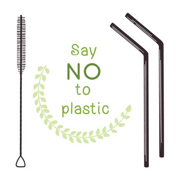 Ecological tubules for drinking. Zero waste. Metal tube for drinking and brush for cleaning. Vector