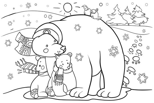 Polar bear with cubs, cartoon character, coloring book for children, design for New Year and Christmas holidays, vector illustration
