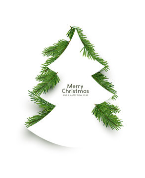 Christmas concept. Flat arrangement of fir branches in the shape of a christmas tree. Vector illustration.