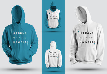 Hooded Sweatshirt Mockup Set with a Raised Hood
