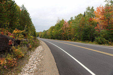 Empty street in the Mauricie National Park in Canada. Quebec
