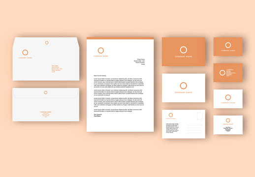 Business Stationary Set Layout with Orange Accents