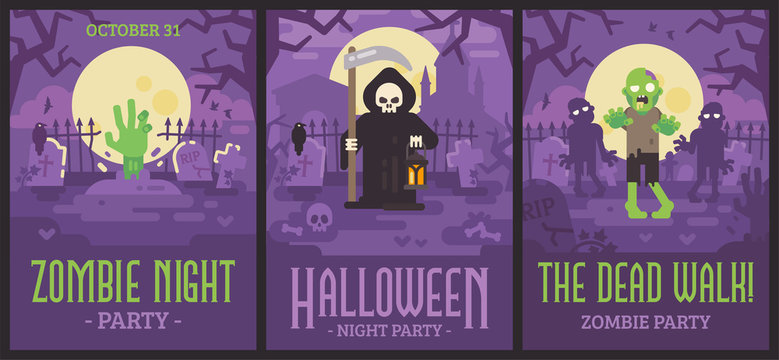Three Halloween posters with graveyard scenes. Halloween flyers with zombies and Grim Reaper