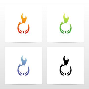 Skull On Fire Logo Design