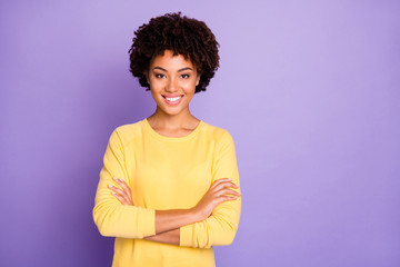 Fototapete - Photo of trendy sweet pretty attractive young representative of business people community standing confidently with arms crossed smiling toothily wearing yellow sweater isolated over purple pastel