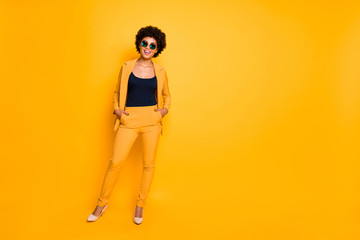 Full size photo of positive cheerful elegant afro american girl have fun rest relax feel dream...