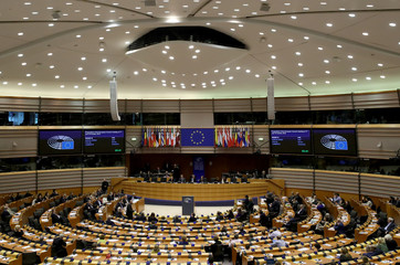 View of the plenary assembly at the European Parliament in Brussels