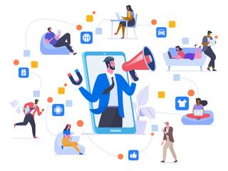 Network marketing flat vector illustration