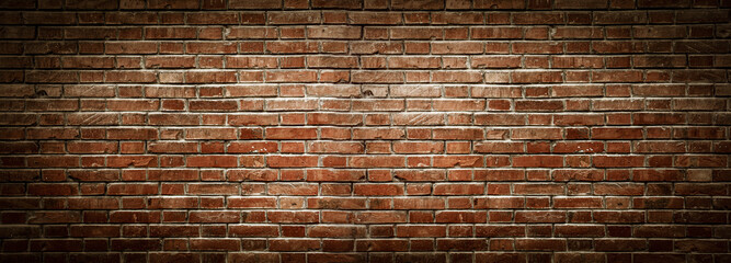 Fotobehang Baksteen muur Old wall background with stained aged bricks