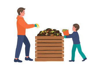 Composting. Man with boy making compost. Recycling concept.