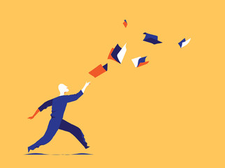 Following culture, information flow. Learning aspiration concept. A man is chasing books flying in the air before him. Vector illustration
