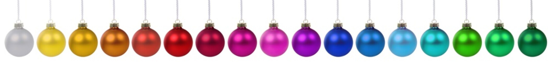 Foto op Plexiglas Bol Christmas balls baubles banner color colorful decoration in a row isolated on white