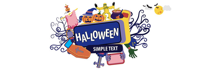 Happy Halloween banner with cartoon characters mummy and stuffed animal for website