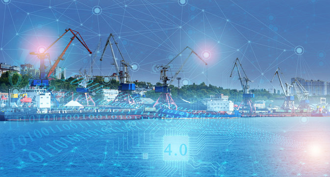 ship loading control using the Internet of things technologies, distribution of deliveries around the world in automatic mode. industry 4.0 in the future of mankind