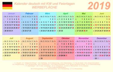 Kalender 2020 - bunt - quer - deutsch - mit Feiertagen (85 x 54 mm)