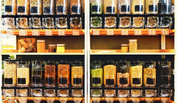 bulk food store texture dispenser bins shelves sustainable zero waste eco friendly shop market