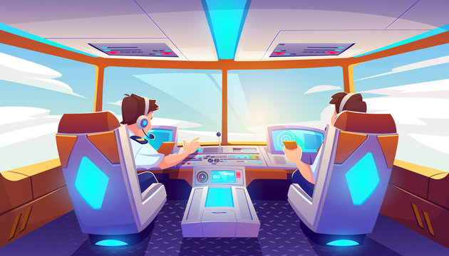 Pilots in airplane cockpit, jet cabin with control panel, plane interior with seats, flight deck dashboard with navigation monitors and sky view in windows. Modern airliner Cartoon vector illustration