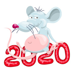 The fat rat is sitting on 2020. Vector illustration in cartoon style